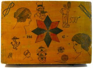 Antique Folk Art Tattoo Artist Box Vintage Uncle Sam Flash Drawing