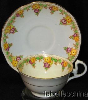 Albert Crown China Teacup and Saucer Trellis Tea cup and Saucer   flaw