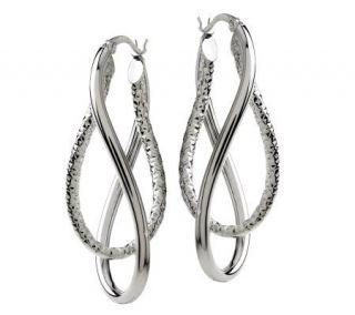 Sterling Polished and Diamond Cut Twist Hoop Earrings —