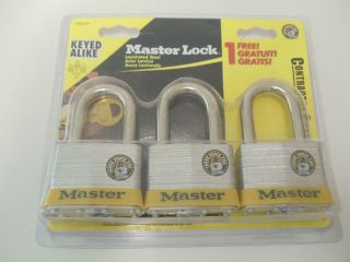 Master Lock 5TRILFPF 3 Padlocks Keyed Alike Laminated Steel