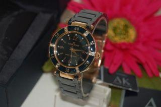 New~ Anne Klein Womens Rose Gold & Blue Ceramic Crystal Bezel Watch