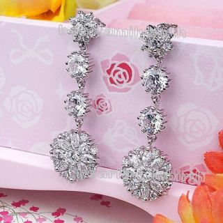 18K White Gold GP Swarovski Crystal Flower Dangle Drop Earrings E24