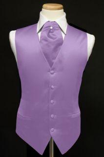 Heather Lavender Satin Tuxedo Vest Ascot Cravat Tie