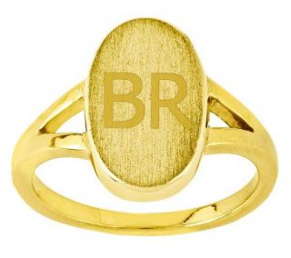 Personalized Satin Oval Signet Ring, 14K Gold   J310954