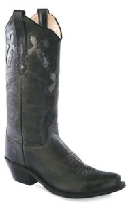 Old West Western Black Cross Inlays Cowgirl Cowboy Boots New