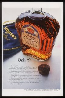 1967 Seagrams Crown Royal Whisky Bottle Photo Print Ad