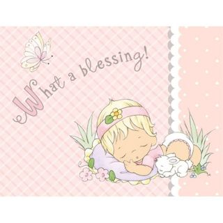 Precious Moments Baby Shower Baby Girl 16 Count Beverage Napkins Party