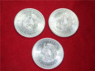 Two 1947 Cuauhtemoc (lower Mintage) & One 1948 Cinco Pesos 90% Silver