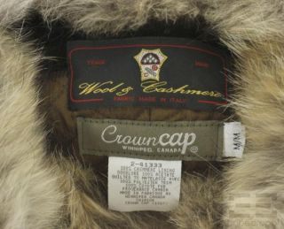 Crown Cap Brown Wool Cashmere Coyote Fur Trapper Hat Size M New with