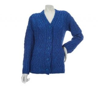 Aran Craft Merino Wool V Neck Button Front Cardigan   A228596