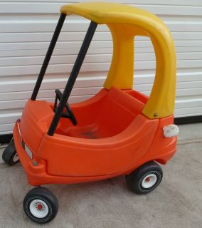 TIKES VINTAGE YELLOW ORANGE BLACK COZY COUPE CAR USED IN BASEMENT ONLY