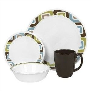 New Corelle 16 Piece Dinnerware Set Dishes Plates Cups Bowls Kitchen