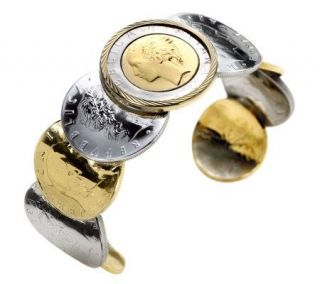 VicenzaGold Two tone Lire Coin Cuff Bracelet, 14K Gold —
