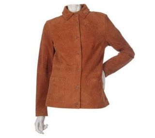 Liz Claiborne New York Fully Lined Suede Jacket with Pockets   A217881