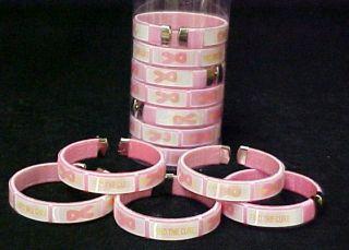 Cancer Pink Ribbon Bangle Cuff Bracelets Lot DZ Hologram New