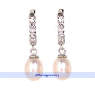 Freshwater Pearl Swarovski Crystal Hoop Drop Earrings