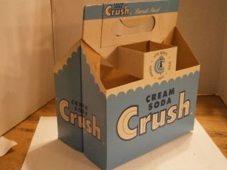 RARE Cream Soda Crush Paper 6 Bottle Carton Handi Pack Blue White Pop