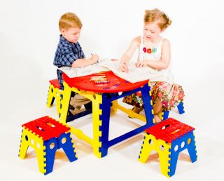 Kids Folding Table Stools Chairs Set Drawing Craft Activity Play Art
