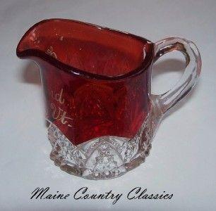 EAPG Ruby Flash Glass Souvenir Pitcher Craftsbury VT