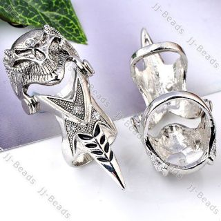 1x Crystal Knight Armour Skull Bead Long Full Finger Knuckle Ring