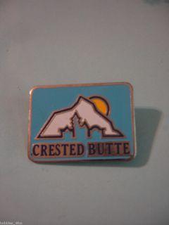 Ski Skiing CRESTED BUTTE Lapel Pin Badge ~ Colorado Blue Sky