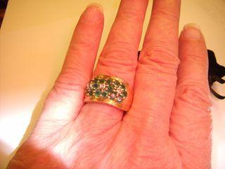 Ross Simons 14k Gold Emerald Diamond Three Flower Ring Size 9