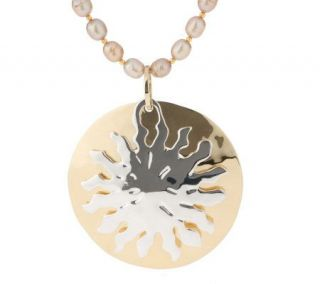 As Is RLM Studio Sterling & Brass Sun Medallion on Bronze Pearls