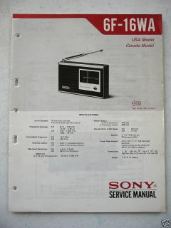 Sony Original Service Manual 6F 16WA Transistor Radio
