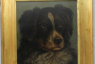 Antique Hunting Dog Oil Painting Howard L Hill 1870