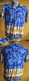 Vtg 90s Corona Extra Mens Rayon Wild Blue Beer Hawaiian Shirt Large L