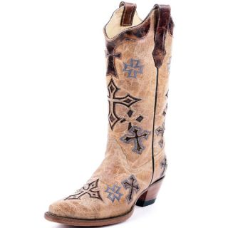 Corral Ladies Embroidered Cross Cowgirl Boots Tan R1017