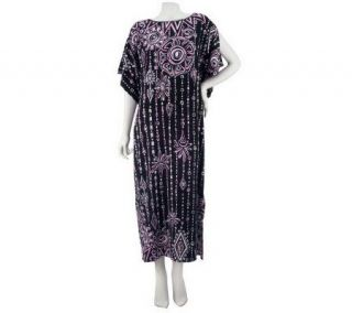 Bob Mackies Boatneck Placement Print Maxi Dress w/Split Sleeves