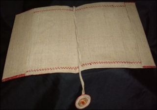 Old BOOK COVER Linen w/ Cross Stitch Crochet Embroidery from CROATIA