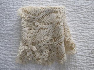Vintage Antique Hand Crochet Crocheted Pineapple Table Runner Scarf 23