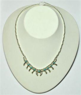 Turquoise Sterling Silver Mini Squash Blossom Necklace   Larry Curley