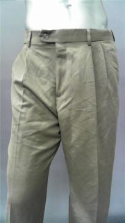 Croft & Barrow Mens 38 Pleated Front Dress Pants Khaki Solid Slacks