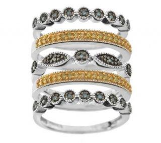 AffinityDiamond 1/3 ct tw Set of 5 Sterling Stack Rings   J263083