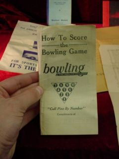 LOT 1930s 40s BOWLING PAPER EPHEMERA Los Angeles CULVER CITY Hollywood