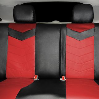Synthetic Leather Semi Custom Car Seat Covers 60 40 Top Split Ruby Red