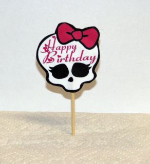 Pink Bow Gothic Birthday Cupcake Picks Cake Toppers Party Picks