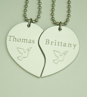 Pendant Necklaces Personalized Doves Anniversay Love Custom Names