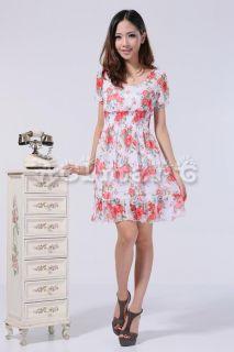Women Top Sexy Summer Tunic Floral Chiffon Dress Party