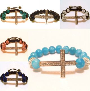 Cross Bracelet Sideways Shamballa Disco Ball Beads Crystal Micro Pave