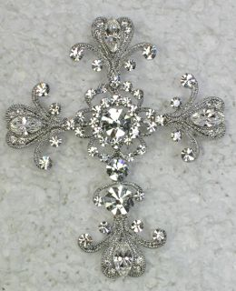 Clear Rhinestone Crystal Big Cross Pin Brooch Pendant G63