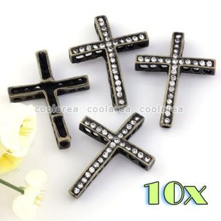 clear crystal spacer cross connector charms beads findings jewelry