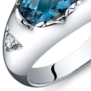 Checkerboard Cut 2 00 cts London Blue Topaz Ring Sterling Silver Sizes