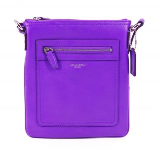 Leather Swingpack Ultraviolet Purple Crossbody Bag Purse New