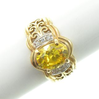 Sterling Silver   Gold Plate Oval Cut Citrine & CZ   Ring (6.25) YF599