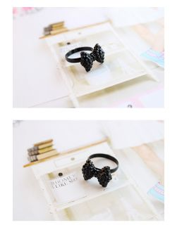 Full Crystal Black Bow Cute Bowknot Ring Fashion Rings SizeAdjust 1PC