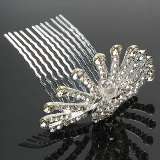 New Peacock Style Rhinestone Crown Tiara Wedding Bridal Hair Comb Pin
